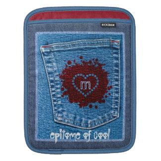 Grunge Blue Jeans Pocket Stone Wash Red Splatter Sleeve For iPads