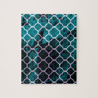Grunge Blue Moroccan Design Jigsaw Puzzle