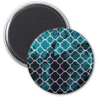 Grunge Blue Moroccan Design Magnet