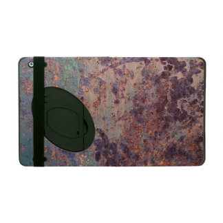 Grunge Blue Rusted Metal Pattern iPad Cover