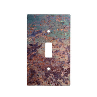 Grunge Blue Rusted Metal Pattern Light Switch Cover