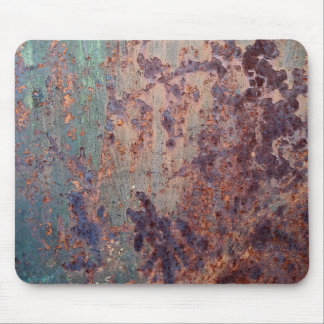 Grunge Blue Rusted Metal Pattern Mouse Pad