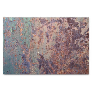 Grunge Blue Rusted Metal Pattern Tissue Paper