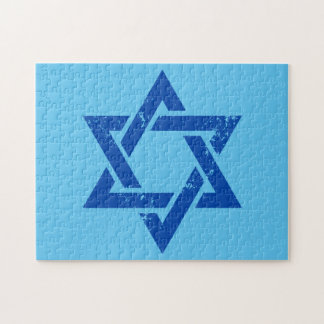 Grunge Blue Star of David Jigsaw Puzzle