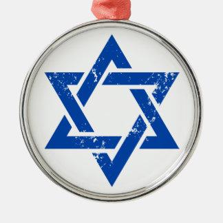 Grunge Blue Star of David Metal Ornament