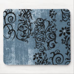 Grunge Blue with Black Vine Mousepad