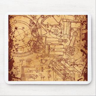 Grunge blueprint mouse pad