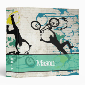 Grunge BMX Stunt Poster Art Paint Splat 3 Ring Binder