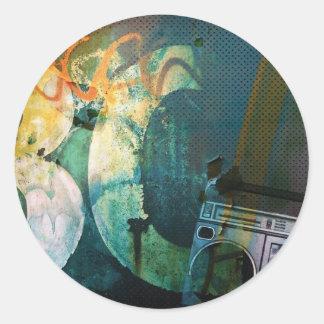 Grunge Boombox Classic Round Sticker