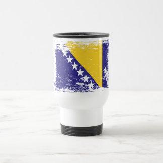 Grunge Bosnia and Herzegovina Flag Travel Mug
