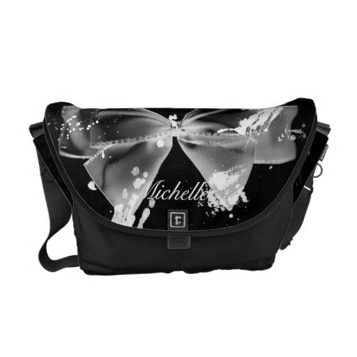 Grunge Bow on Black Messenger Bag