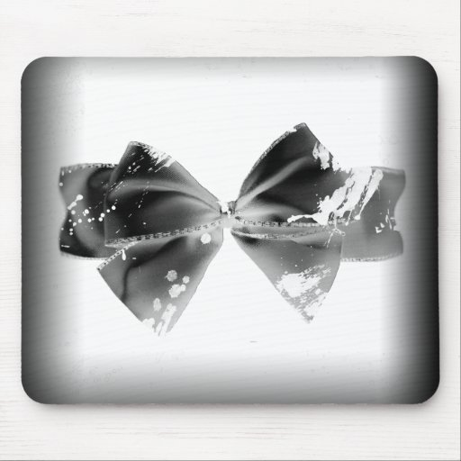 Grunge Bow on black Mouse Pads
