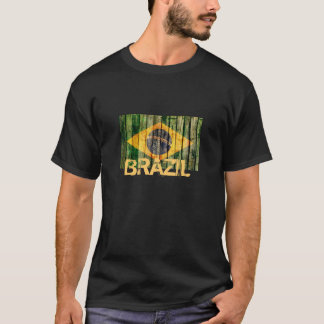 Grunge Brazil flag on old wood texture T-Shirt