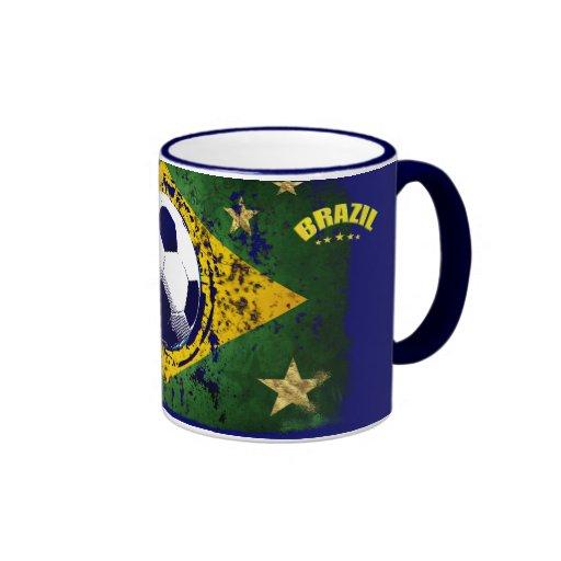 Grunge brazil soccer flag gifts mugs
