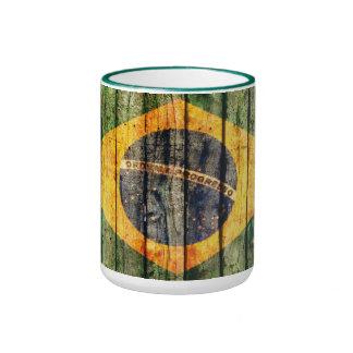 Grunge Brazilian flag on rustic wooden texture Ringer Mug