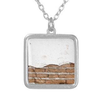 Grunge brick wall square pendant necklace