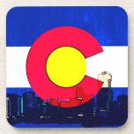 Grunge bright Denver Colorado flag skyline Beverage Coaster