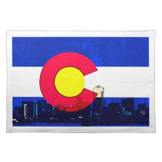 Grunge bright Denver Colorado flag skyline Cloth Placemat