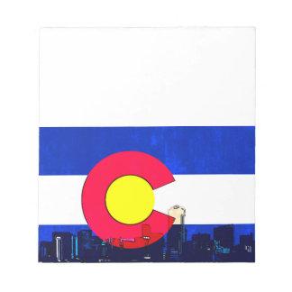 Grunge bright Denver Colorado flag skyline Memo Note Pad