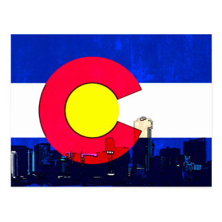 Grunge bright Denver Colorado flag skyline Postcard