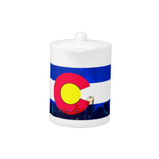 Grunge bright Denver Colorado flag skyline Teapot