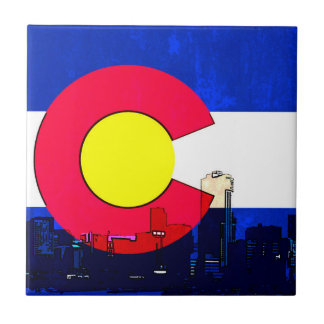 Grunge bright Denver Colorado flag skyline Tile