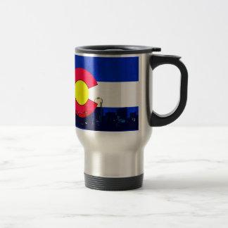 Grunge bright Denver Colorado flag skyline Travel Mug