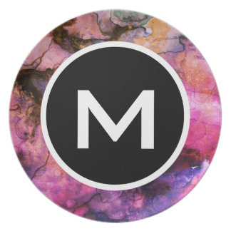 Grunge Bright Watercolor Ink with Monogram Dinner Plate