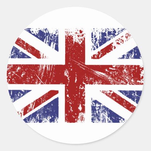Grunge británico del punk de Union Jack de la Pegatina Redonda