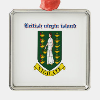 Grunge British Virgin Islands coat of arms designs Metal Ornament