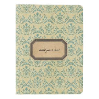 grunge,brown,teal,rustig,damask,vintage,victorian, extra large moleskine notebook cover with notebook