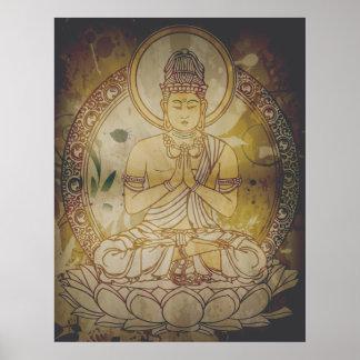 Grunge Buda del vintage Póster