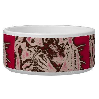 Grunge Burgundy Abstract Tiger Bowl