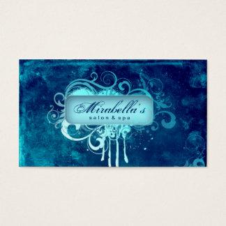 Grunge Business Card Flower Salon Spa Blue Denim