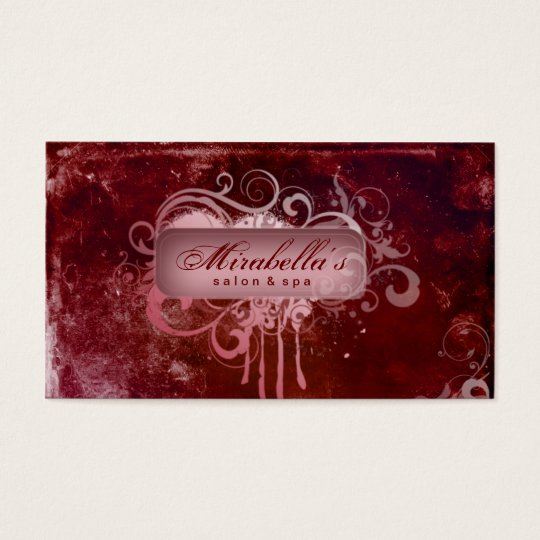 Grunge Business Card Flower Salon Spa Red