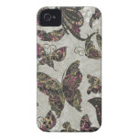 Grunge Butterflies Blk Gray Purple Paisley Floral iPhone 4 Cases