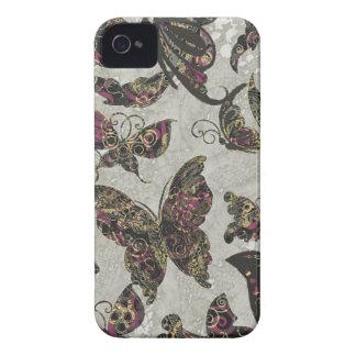 Grunge Butterflies Blk Gray Purple Paisley Floral iPhone 4 Case-Mate Case