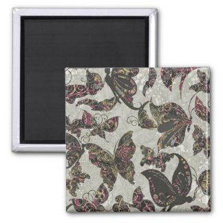Grunge Butterflies Blk Gray Purple Paisley Floral Magnet