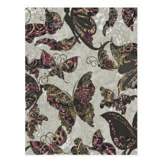 Grunge Butterflies Blk Gray Purple Paisley Floral Postcards