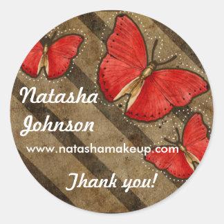 Grunge Butterflies Stripes Brown Red Sticker label