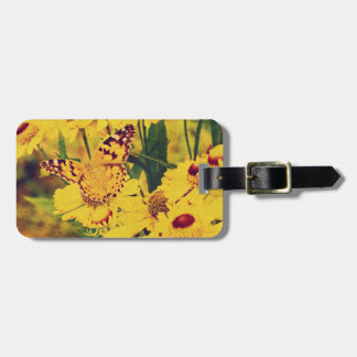 Grunge butterfly background 3 travel bag tags