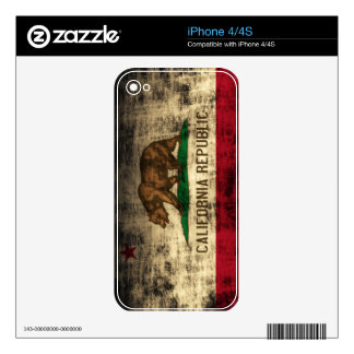 Grunge California Republic Flag iPhone 4 Decal