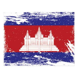Grunge Cambodia Flag Postcard