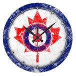 Grunge Canadá de la blanco de la MOD salvaje Reloj De Pared