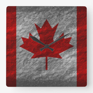 Grunge Canada Flag 3 Square Wall Clock