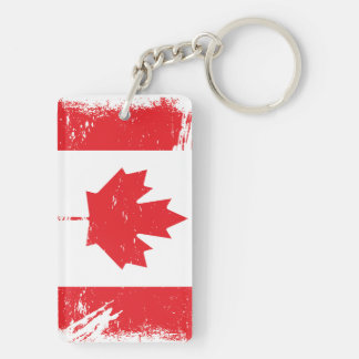 Grunge Canada Flag Double-Sided Rectangular Acrylic Keychain