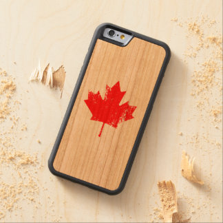 Grunge Canada Flag Maple - Red Distorted Carved Cherry iPhone 6 Bumper Case
