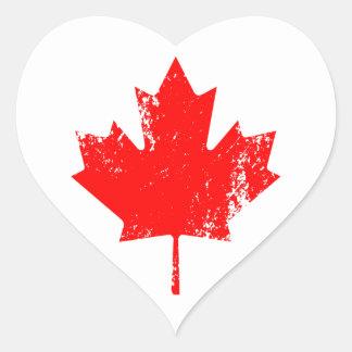 Grunge Canada Flag Maple - Red Distorted Heart Sticker