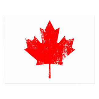 Grunge Canada Flag Maple - Red Distorted Postcard