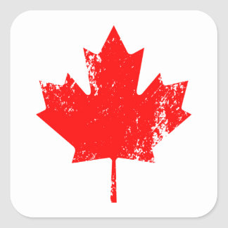 Grunge Canada Flag Maple - Red Distorted Square Sticker